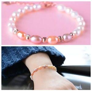 NEW Gorgeous 100% Genius Pearls Bracelet Rose Gold